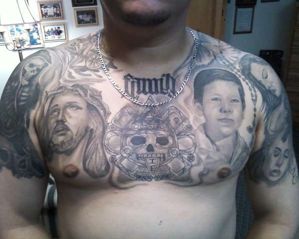 Family Chest Piece Tattoo Design for Men – Chest Piece Tattoos