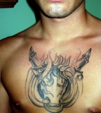 Fiery Bull-Head Chest Piece Tattoo Design for Men