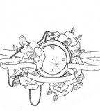 Lovely Pocket-watch and Flowers Chest Piece Tattoo Design by Ziuuziuu