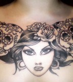 Beautiful Woman and Mexican Sugar Skulls Chest Piece Tattoo Designs for Women