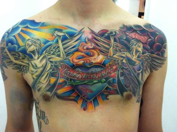 Gothic Angels Chest Piece Tattoo Designs for Men – Angel Tattoos