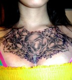 Gothic Skull and Flowers Chest Tattoo Design Ideas for Women / Girls