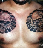 Neo-traditional Skull Chest to Sleeve Tattoo Designs for Men