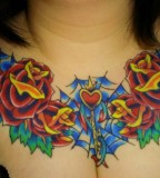 2011 Nice Women Rose Chest Piece Tattoo Designs for Women