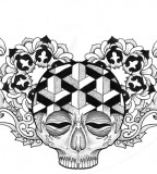 Fiery and Flowery Mexican Skull Chest Tattoo Design by Becky May