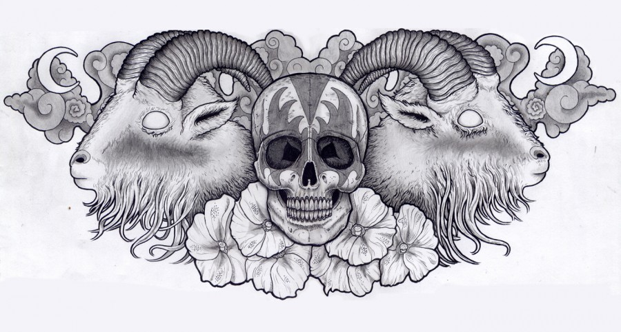 Awesome Chest Piece Sketch Tattoo of Skull, Goat Heads, and Flowers