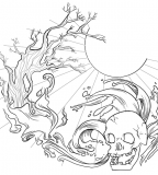 Neo-traditional Skull on Wave and Trees - Skull Tattoos