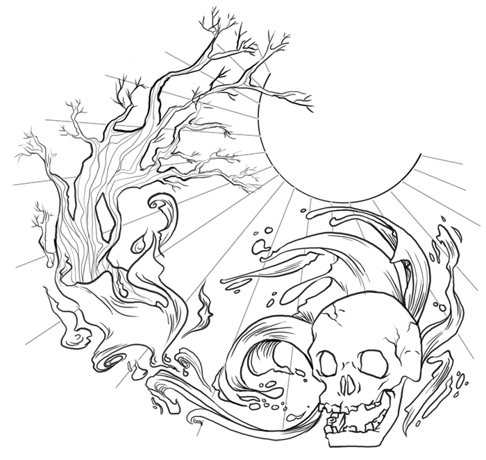 Neo-traditional Skull on Wave and Trees – Skull Tattoos