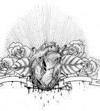 Heart, Flowers, and Birds Chest Piece Tattoo Design Sketch by Born2drum