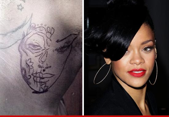 Chris Browns New Tattoo Rihanna's Face – Celebrity Tattoos