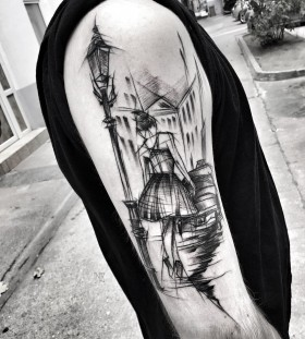 city-girl-blackwork-tattoo-by-ineepine