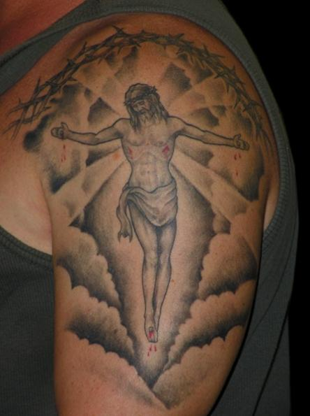 Jesus In Clouds Arm Tattoo Design