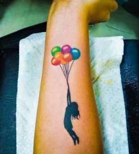 colorful balloon tattoos for women