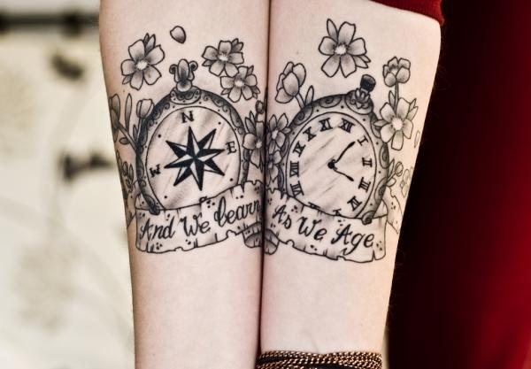 Compass / Watch Tattoo Design – Match Tattoo