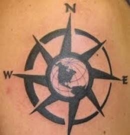Prismatic Earth Compass Tattoo Ideas