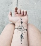Wrist Compass Tattoo Design