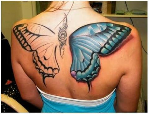 Huge 3D Butterfly Tattoo Design on Back for Women