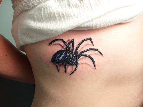 Black and Blue 3D Spider Tattoo Design for Girls