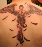 Cool 3D Angel Back Tattoo Design For Men