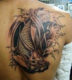 Cool 3D Koi Tattoo Design on Back
