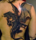 Amazing 3D Tattoo Design on Back for Girls