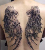 3D Wing Tattoo Design on Back