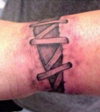 Cool 3D Shoelace Tattoo Design