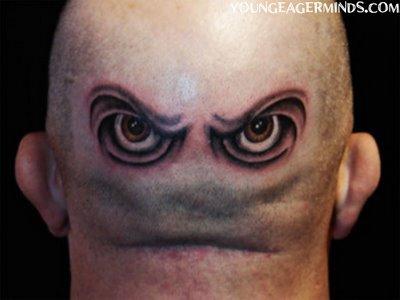 Unique 3D Tattoo Design on Head