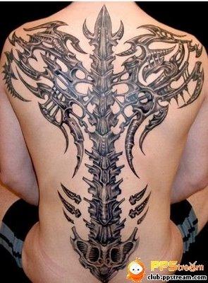 Creative  3d Tattoos Design on Back