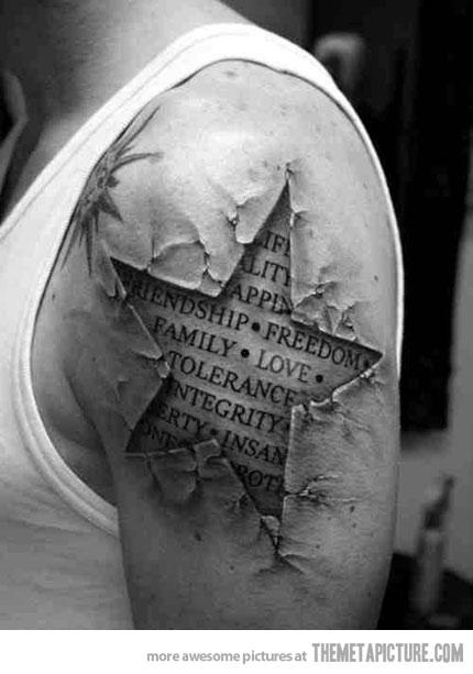 Amazing Star 3d Tattoo design on shoulder