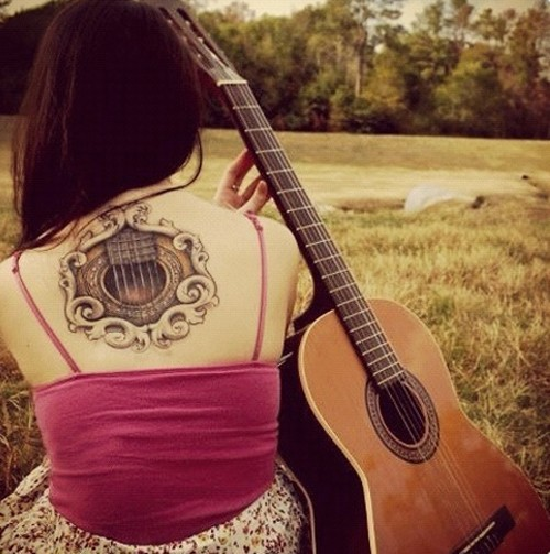 Design Moderne Music Themed Guitar Tattoos Collection Girls