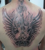 Cool Guitar With Wings of Fire Tattoo Design