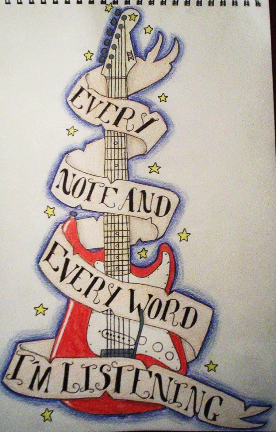 Amazing Design Guitar Tattoo PIctures