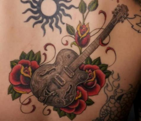 Cool Rose and Guitar Tattoos Design Ideas