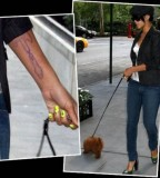 Cool Guitar Tattoos On the Left Hand Rihanna's