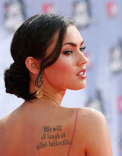 Megan Fox's Butterfly Quote Tattoo Design