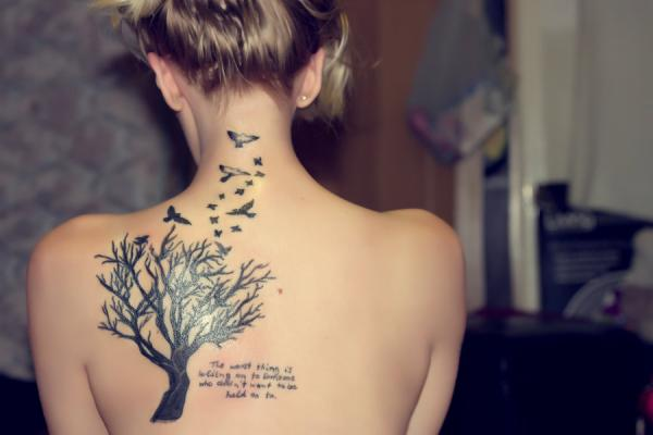 Tremendously Cool Quote with Drawing Tattoos For Girls