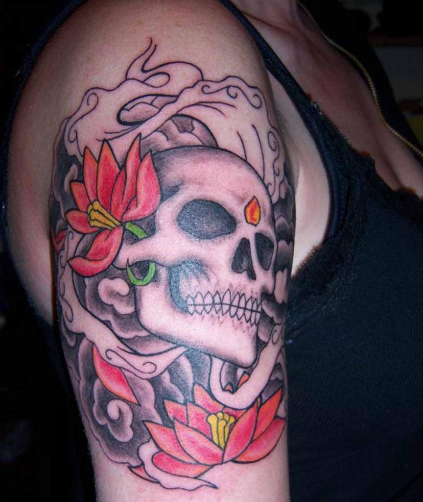 Cool Skull-Flower Tattoo Design For Girls