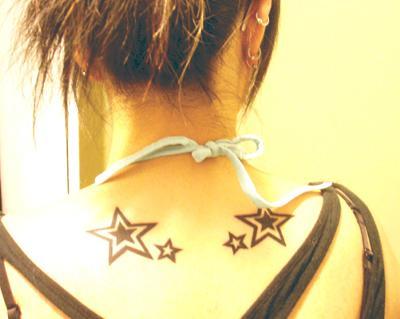 Cool Star Tattoos On Girls' Back