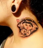 Cool Tattoos For Girls On Neck: Cartoon Angel