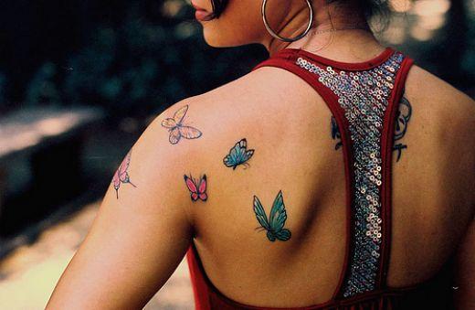 Girl Butterflies Back Tattoos