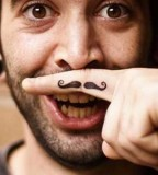 Funny Mustache Tattoo on Men Finger