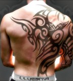 Cool Wide Tribal Tattoo Placement Idea for Guys
