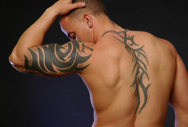 Back and Upper Arm Tribal Tattoos Design for Guys
