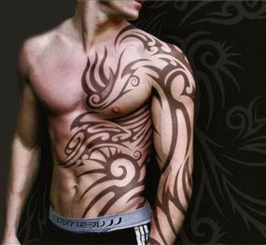 Cool Tribal Tattoo Placement Idea at Front For Guys