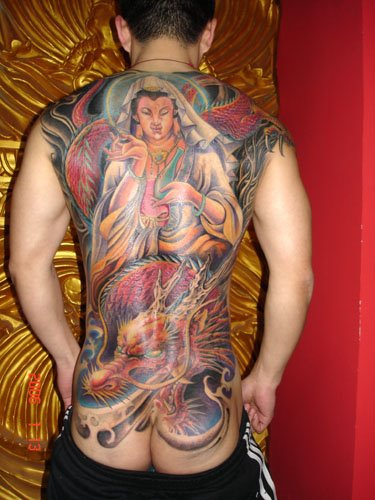 Colorful Buddhism Theme Full Back Body Tattoo Design Idea for Guys (NSFW)