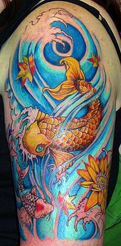 Cool Orange Colored Koi Coy Fish Tattoo Picture