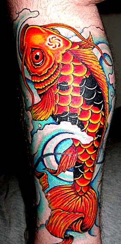 Big Orange Colored Koi Coy Fish Tattoo Design