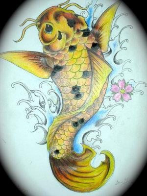 Sweet Yellow Koi Coy Fish Girls Tattoo Design