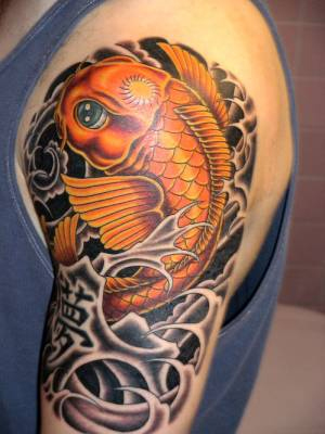 Cool Orange Colored Koi Coy Fish Shaped Tattoo Design on Left Arm